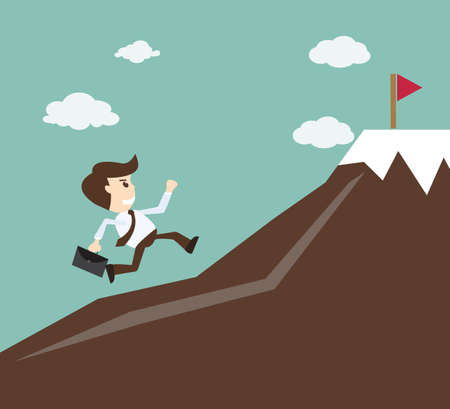 Commitment concept - Businessman climbing on the mountain Ilustração