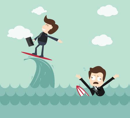 superviser: Notion d'expert - homme d'affaires surf vague