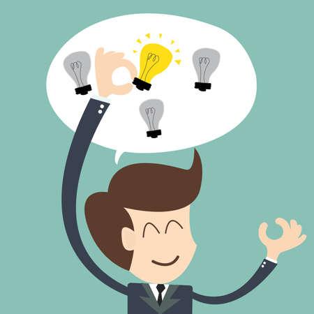 아이디어 개념 - 사업가 선택 전구를 들고 일러스트