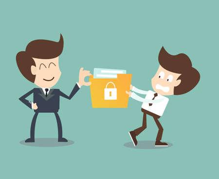 幹部社員、企業データの漏洩を含む秘密のファイルを盗む  イラスト・ベクター素材