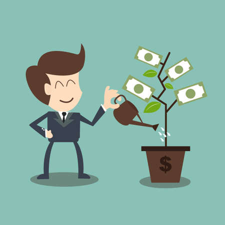 ビジネスマンは金のなる木に水をまく  イラスト・ベクター素材