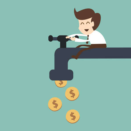 stack of cash: businessman open water tap with coins Illustration