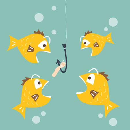 웜 미끼 경쟁 비즈니스 개념을 먹고 관심 물고기