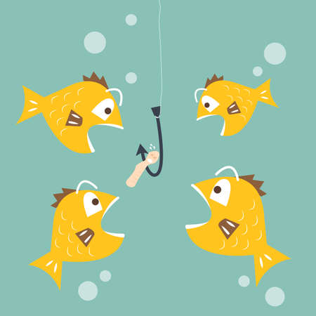 cartoon worm: Fish interested to eat worm bait -competition business concept