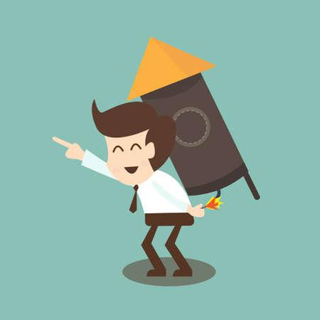 financial freedom: Businessman rocket - Self Empowerment concept Illustration