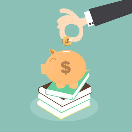 Saving for Education - Piggy Bank over Stack of Books Vector