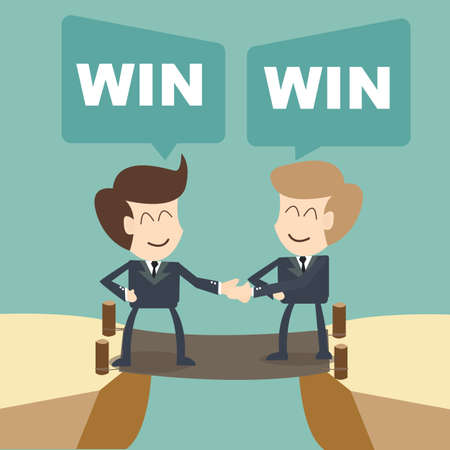 win win businessman with shake hands on cliff
