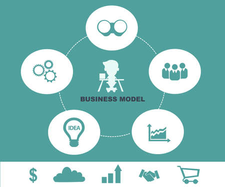 Business model concept - Schematic info graphic with businessman Vector