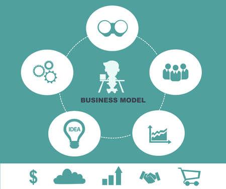 business model: Business model concept - Schematische info grafisch met zakenman Stock Illustratie