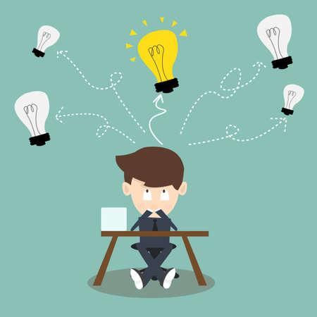 toma de decision: Pensando en la toma de decisiones de negocios y tener una idea. Él mira para arriba Bombillas
