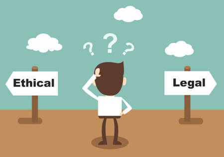 Ética y Legal - Empresario confundirse Permanente en la encrucijada Ilustración de vector