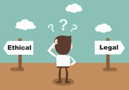 business ethics: Ethical and Legal - businessman confused Standing at the crossroad