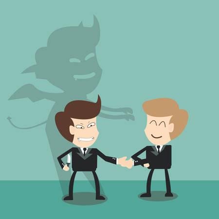 Diable ombre derrière partenaires d'affaires - mauvais concept de partenariat Banque d'images - 28111874