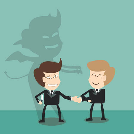 Devil shadow behind  business partners - bad  partner concept