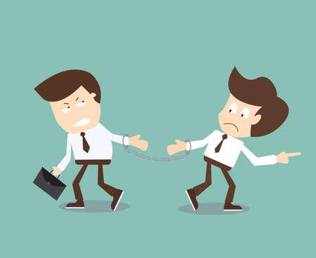 反対: ビジネス パートナー - と思うとは異なる概念からさまざまな方法で考えること  イラスト・ベクター素材