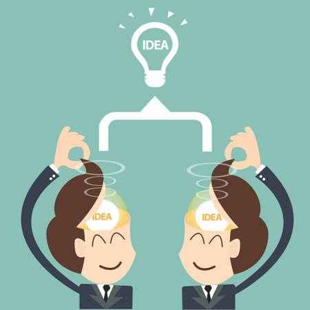 two businessmen brainstorming bulb - Brainstorm Teamwork concept Illustration