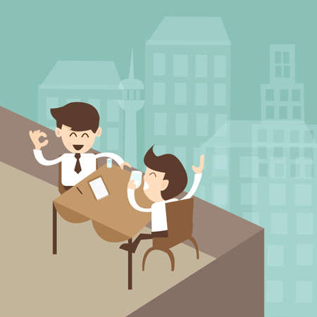 professional relationship: businessman negotiation rooftop of the hotel Illustration