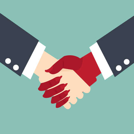 pact: Businessman making a pact with the devil  - handshake business concept