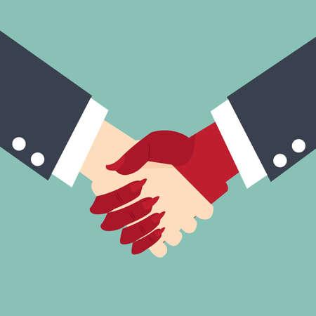 pacto: Hombre de negocios haciendo un pacto con el diablo - concepto de negocio apret�n de manos