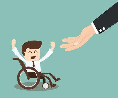 Трудоустройстве для инвалидов - бизнесмен в инвалидной коляске Иллюстрация