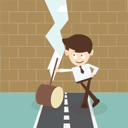 결정된: 사업가 망치로 벽을 깨는 결정