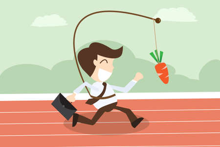 businessmen running with hanging carrot in motivation concept