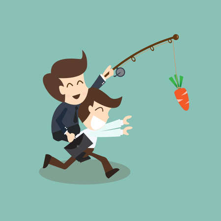 motivation concept - businessman chased with carrot