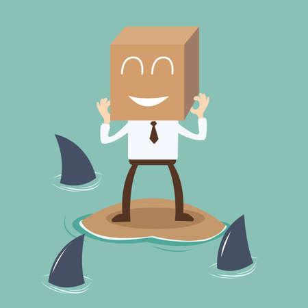 kockázatos: Üzletember mosolyogva kockázatos helyzetben