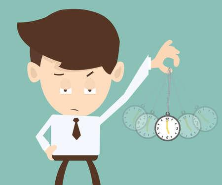 Concetto di Ipnosi - Imprenditore mano che tiene un orologio da tasca e oscillante