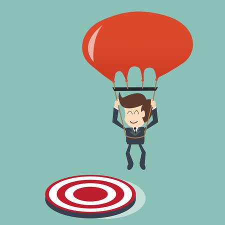 összpontosított: cél fogalmát - üzletember összpontosított a cél az ejtőernyős Illusztráció
