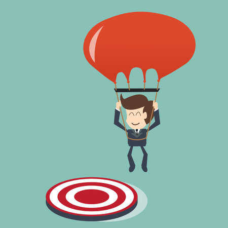 target concept - Businessman focused on a target with parachute Vector