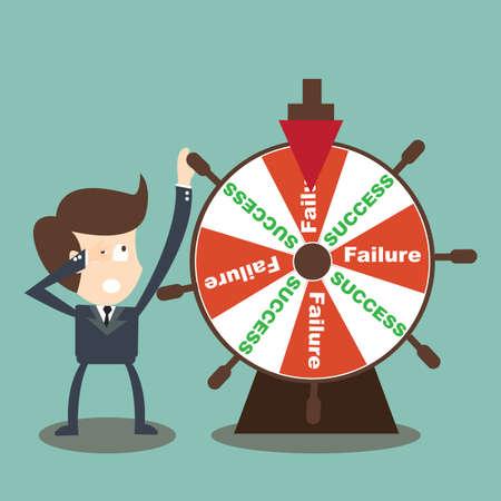 결정된: 사업가 행운의 바퀴에 성공 실패를 회전