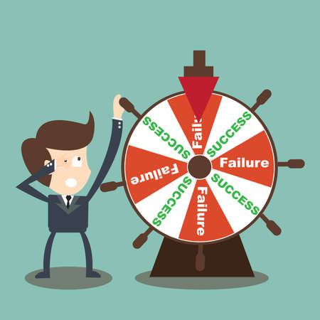 luck wheel: Businessman rotate success failure in wheel of fortune  Illustration