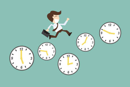 Concepto de gestión del tiempo, con el hombre de negocios de la historieta que se ejecuta en el tiempo Ilustración de vector