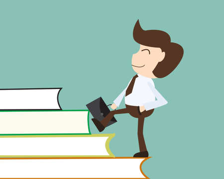 people development: People development concept - Businessman acquires knowledge over a ladder made of books