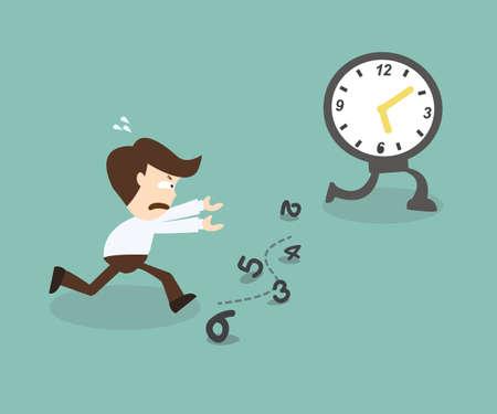 chasing: Business man run follow the clock