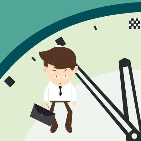 hangs: Businessman hangs on an arrow of clock minutes final  Illustration