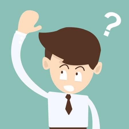 ビジネスマン手を尋ねる質問 - 質問マーク コンセプト  イラスト・ベクター素材