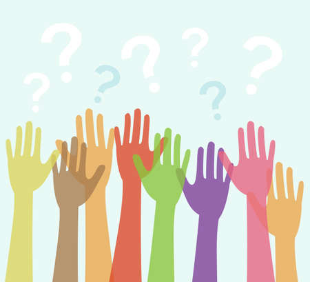 Diversity of Hands Raised and Question Marks  Vector