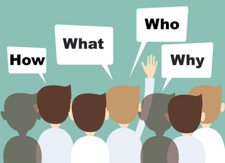 実業家の手を上げて質問を  イラスト・ベクター素材
