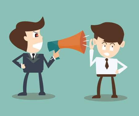 boss with megaphone yelling at businessman -  turning a deaf ear Vector