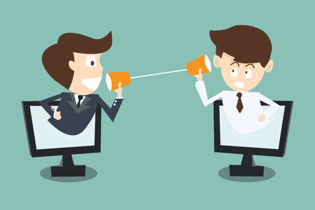 インターネット経由でコンピューターにカップ電話と話している 2 つのビジネスマン  イラスト・ベクター素材