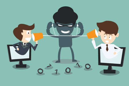 two businessmen speaking with a  hacker spy listening