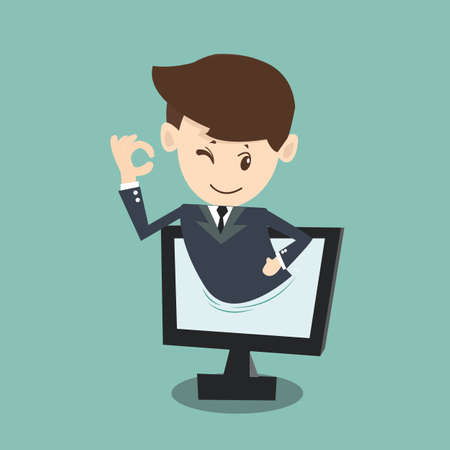 businessman approval  in monitor screen