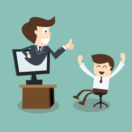 boss showing thumb up in monitor screen to employee Vector