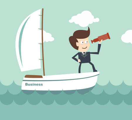 vision leadership - Businessman with a spyglass on a boat 向量圖像