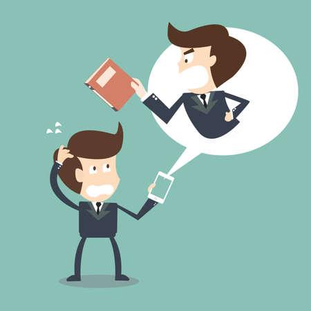 argumento: Jefe enojado en su negocio de telefonía móvil Vectores