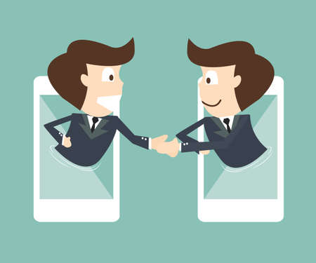 two person: communication of businessman on mobile smartphone