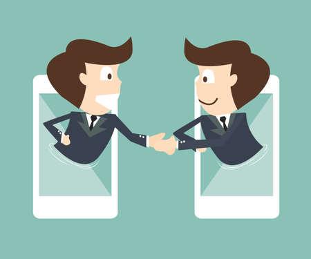 communication of businessman on mobile smartphone