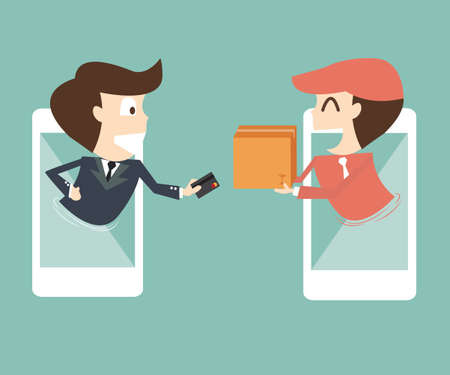 e-commerce on mobile - businessman payments from credit card on the screen Ilustracja